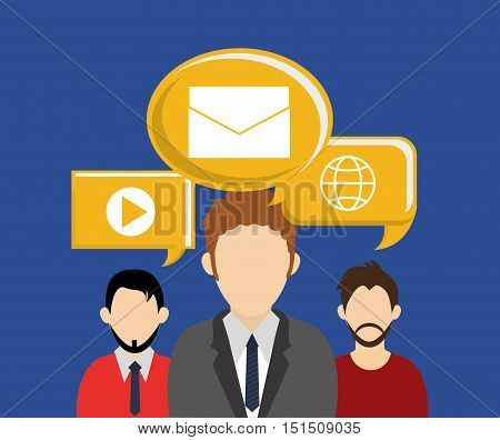 faceless user avatar with socia media related icons image vector illustration design