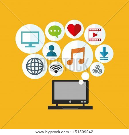 computer with socia media related icons image vector illustration design