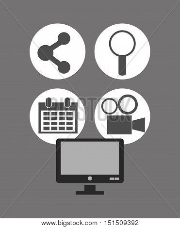 computer with magnifying glass calendar film projector and connection icons image vector illustration design