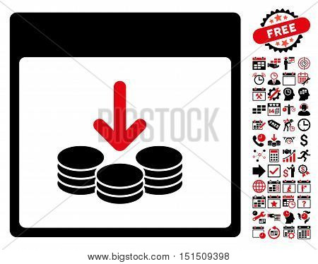 Get Coins Calendar Page pictograph with bonus calendar and time management design elements. Vector illustration style is flat iconic symbols, intensive red and black, white background.