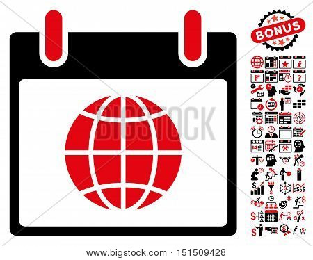 Globe Calendar Day pictograph with bonus calendar and time management pictograph collection. Vector illustration style is flat iconic symbols, intensive red and black, white background.