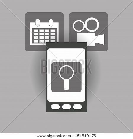 modern cellphone and magnifying glass film projector with calendar icon image vector illustration design