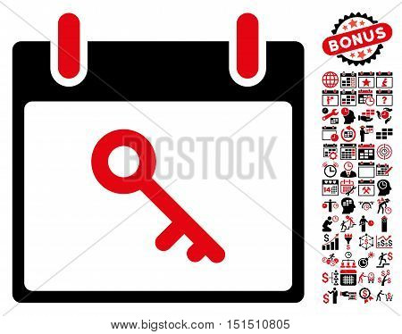 Key Calendar Day icon with bonus calendar and time management pictograph collection. Vector illustration style is flat iconic symbols, intensive red and black, white background.