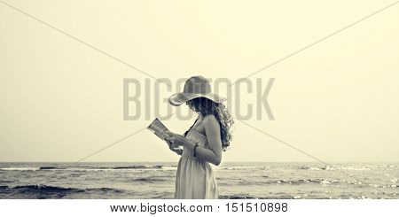 Beach Summer Holiday Vacation Traveling Relaxation Reading Concept