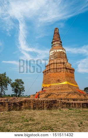 Phra Nakhon Si Ayutthaya Thailand- February 8 2016 : Wat Krasai Temple is older than 200 years old Officers of the fine arts department are surveying round pagoda.