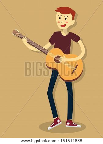 Vector illustration of a man who play acoustic guitar on brown background.
