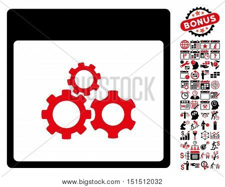 Mechanics Gears Calendar Page pictograph with bonus calendar and time management pictograph collection. Vector illustration style is flat iconic symbols, intensive red and black, white background.