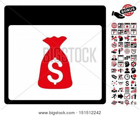 Money Bag Calendar Page pictograph with bonus calendar and time management pictograph collection. Vector illustration style is flat iconic symbols, intensive red and black, white background.