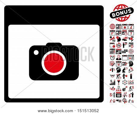 Photo Camera Calendar Page pictograph with bonus calendar and time management pictograph collection. Vector illustration style is flat iconic symbols, intensive red and black, white background.