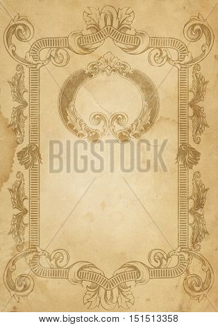 Aged stained paper background with old-fashioned frame. Vintage paper texture.