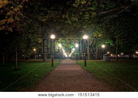 A night view of a pathway in the Kadriorg park in Tallinn Estonia. The vast park is lit beautifully by the old lamp posta.