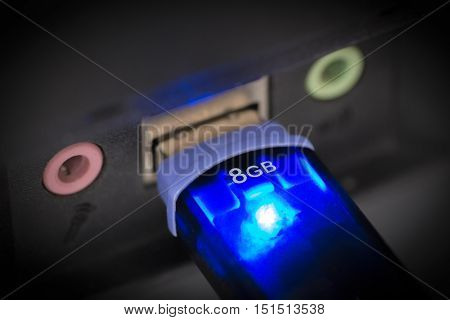 USB flash drive is inserted into the usb