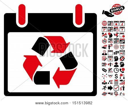 Recycle Calendar Day icon with bonus calendar and time management design elements. Vector illustration style is flat iconic symbols, intensive red and black, white background.