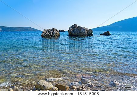 The sea and the coastline Budva Montenegro Adriatic Sea Mediterranean Sea.