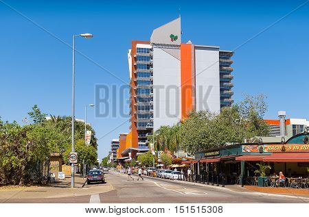 Darwin, Northern Territory-July 12, 2005. View of shops and buildings in the centre of Darwin, capital city of the Northern Territory, top end of Australia