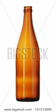 Taper Neck Brown Glass Bottle isolated on white background