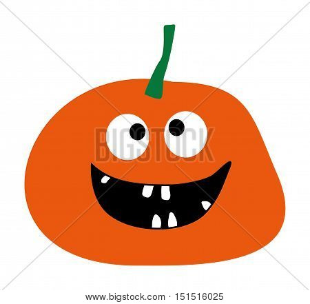 Simple flat style design Pumpkin isolated Halloween pumpkin icon Pumpkin icon vector Orange Pumpkin Smiling Pumpkin on a white background Pumpkin vector icon