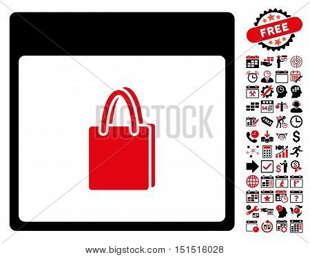 Shopping Bag Calendar Page pictograph with bonus calendar and time management pictures. Vector illustration style is flat iconic symbols, intensive red and black, white background.