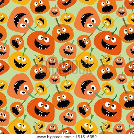 Pumpkin seamless pattern on green background Background for Halloween party yellow and orange pumpkin Pumpkin seamless background