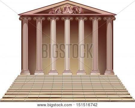 Ancient building with Ionic columns. Historic building with a ladder.