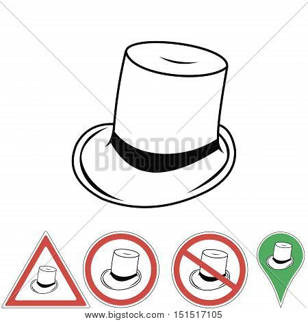Hat cylinder line icon for web, mobile and infographics signs index . Vector icon isolated on white background, for print or design