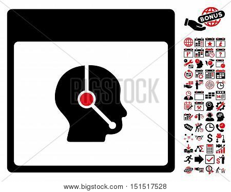 Telemarketing Operator Calendar Page icon with bonus calendar and time management graphic icons. Vector illustration style is flat iconic symbols, intensive red and black, white background.