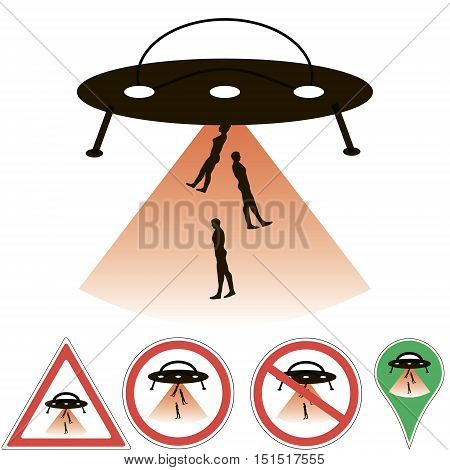 UFO abduction alien ship beam, signs and pointers vector, for design or printing