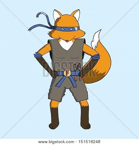 Fox Wearing Ninja Costume