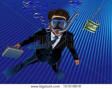 Underwater scene of a businessman taking the bait