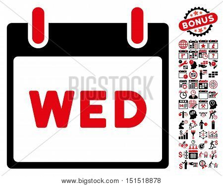 Wednesday Calendar Page pictograph with bonus calendar and time management pictograph collection. Vector illustration style is flat iconic symbols, intensive red and black, white background.