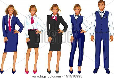 Stock vector set of isolated characters, hotel staff, administrator, animator, barman, maid, director, concierge, porter, registration statement in flat style for icons, websites, printed materials. isolated over white background