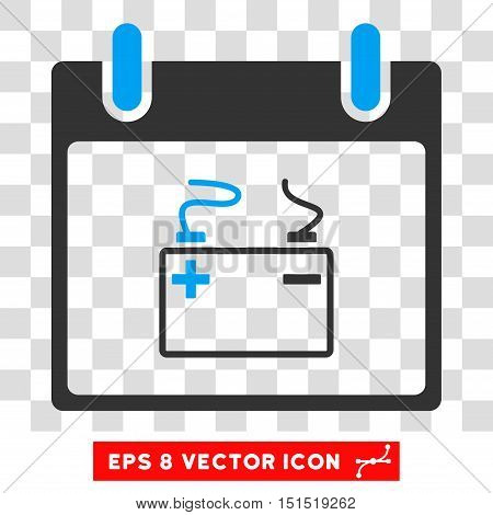 Vector Accumulator Calendar Day EPS vector pictogram. Illustration style is flat iconic bicolor blue and gray symbol on a transparent background.