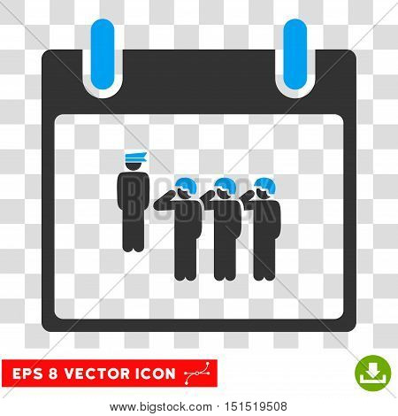 Vector Army Squad Calendar Day EPS vector pictogram. Illustration style is flat iconic bicolor blue and gray symbol on a transparent background.