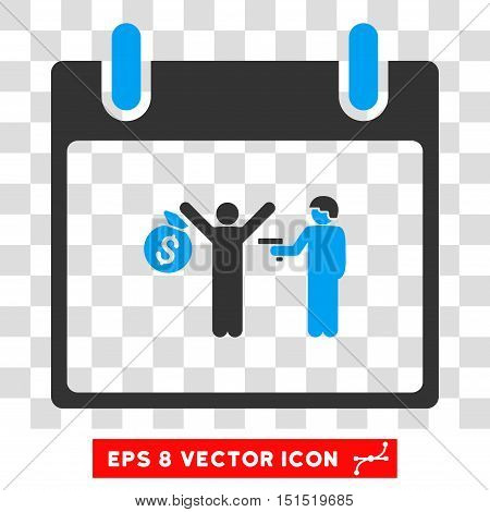 Vector Arrest Calendar Day EPS vector pictogram. Illustration style is flat iconic bicolor blue and gray symbol on a transparent background.