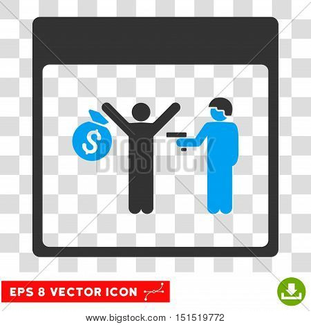 Vector Arrest Calendar Page EPS vector pictogram. Illustration style is flat iconic bicolor blue and gray symbol on a transparent background.