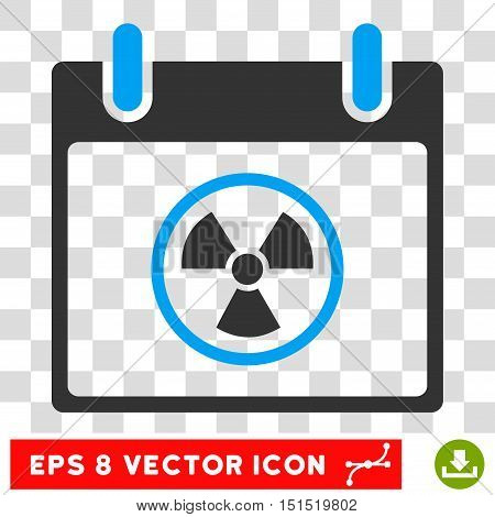 Vector Atomic Calendar Day EPS vector pictogram. Illustration style is flat iconic bicolor blue and gray symbol on a transparent background.