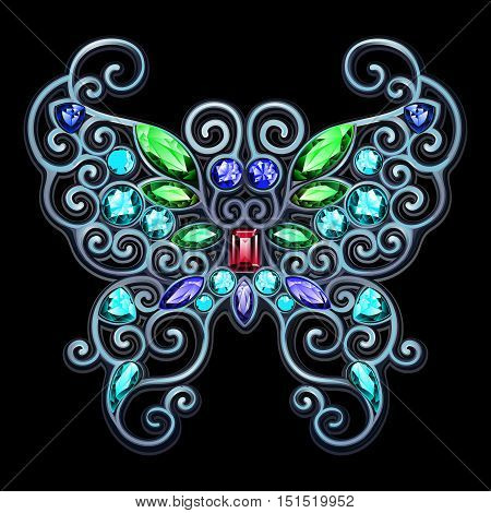 Silver jewelery in the form of a butterfly with different color gemstones.