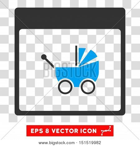 Vector Baby Carriage Calendar Page EPS vector icon. Illustration style is flat iconic bicolor blue and gray symbol on a transparent background.