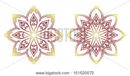 Round flower oriental pattern, Circular ornament design element set