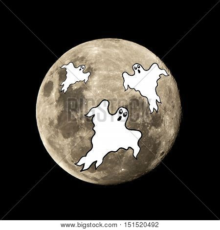Hallowen Ghost Flies In The Moon