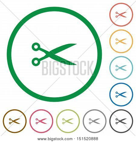 Set of cut color round outlined flat icons on white background