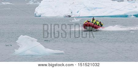 Jokulsarlon, Iceland - July 21, 2016: Boat Adventure On Jokulsarlon Glacier Lake On July 21, 2016.