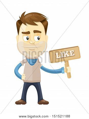 Successful Businessman. Vector illustration of Cartoon Businessman standing and hold board with like sign in the left hand. isolate on white background