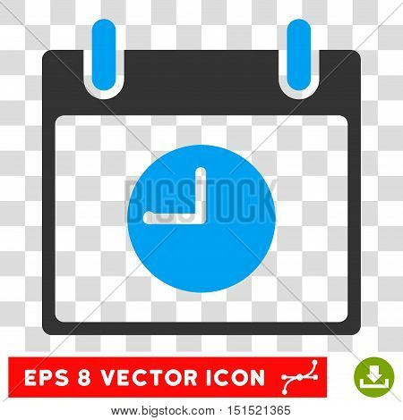 Vector Clock Calendar Day EPS vector pictograph. Illustration style is flat iconic bicolor blue and gray symbol on a transparent background.