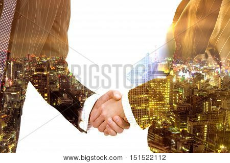 Hand shake business success on city and white background illustration.