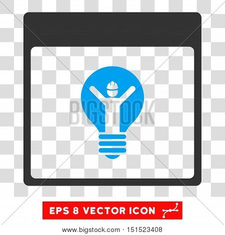 Vector Electrician Calendar Page EPS vector pictogram. Illustration style is flat iconic bicolor blue and gray symbol on a transparent background.