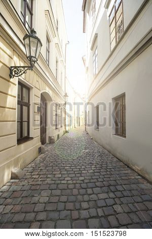 Narrow street between houses