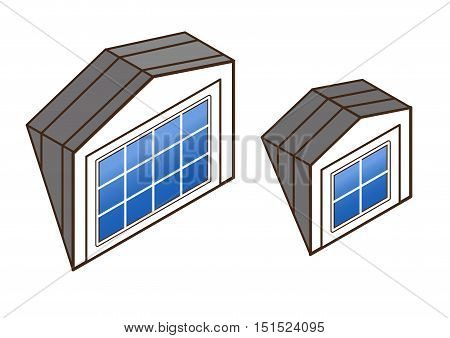 dormer window isometric. architectural details of houses: skylights