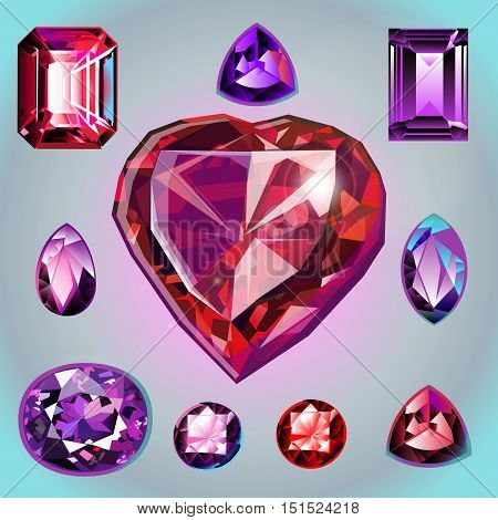 Collection of gems: Rubies of different shapes and cut.