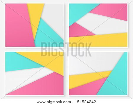 Material design backgrounds. Modern paper templates. Geometric banners. Layered paper. Material design style illustration. Simple vector for web design and business printed products.